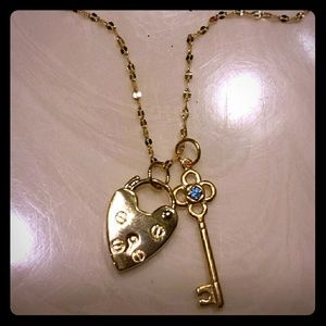 Anthropologie Heart Lock n Key Charm Necklace NWT
